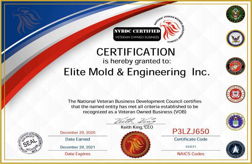 Veteran Owned Business Certificate